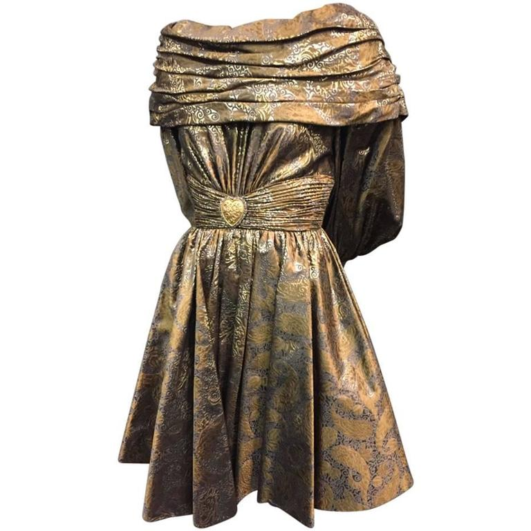 1980s Michael Casey Pewter and Copper Brocade Portrait Collar Cocktail Dress 1