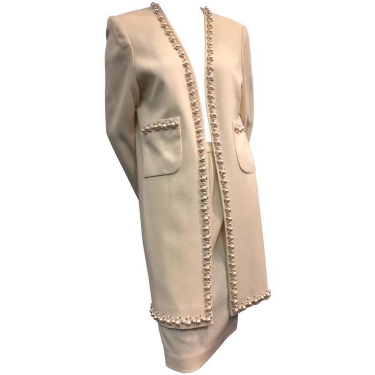 1980s David Hayes Cream Wool Skirt and Long Pearl and Rhinestone Trimmed Jacke