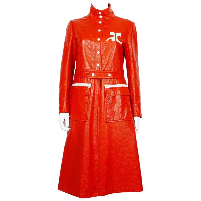 Andre Courreges Vintage Orange Vinyl Trench Coat with Oversized Logo 1