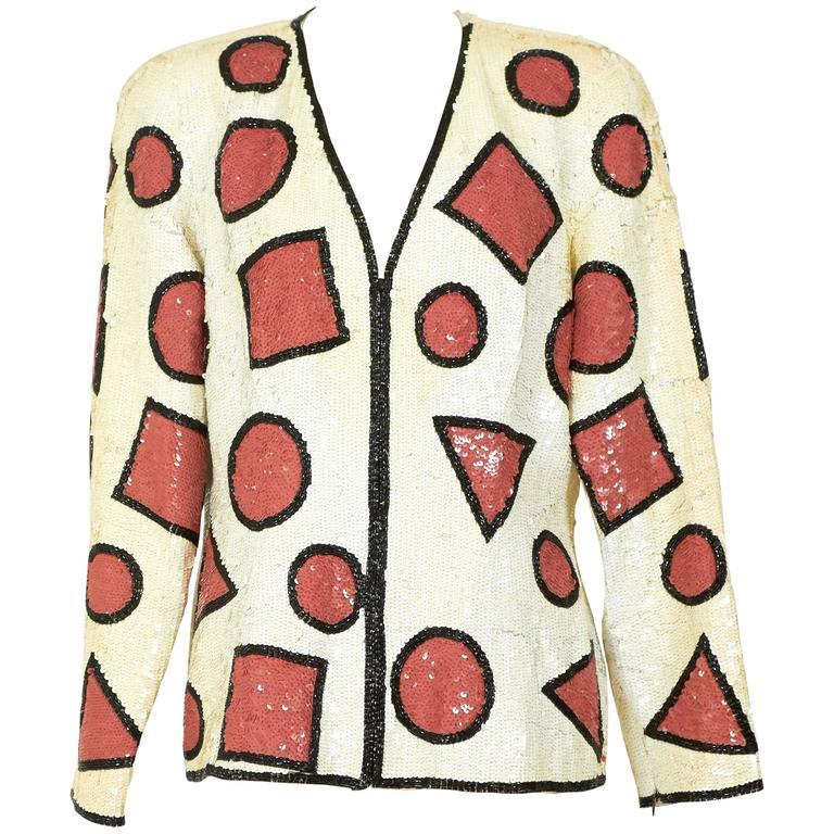 1990s Oleg Cassini Sequins Blazer Jacket