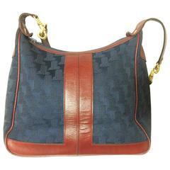 Vintage LANVIN navy logo jacquard shoulder bag with wine, bordeaux leather
