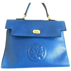 Vintage FENDI blue leather classic kelly style handbag with iconic Janus motif.