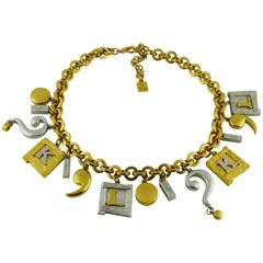 Karl Lagerfeld Vintage Two Tone Charm Necklace