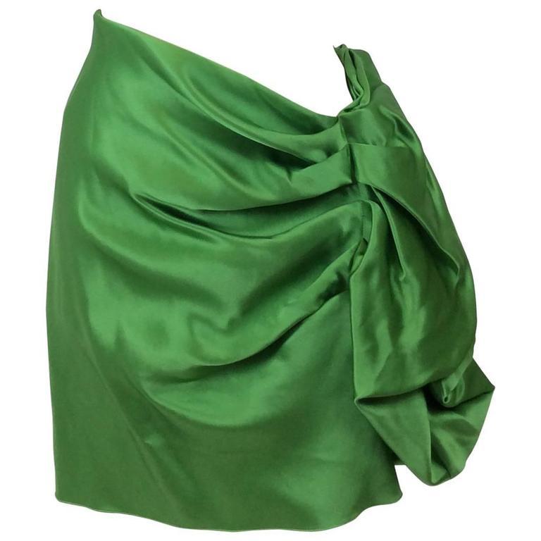 Lanvin Silk Satin Flounce Skirt