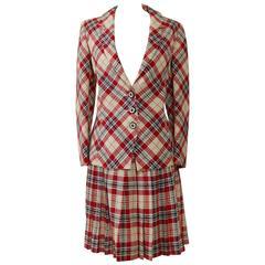 1990s Ungaro Tartan Suit Dress
