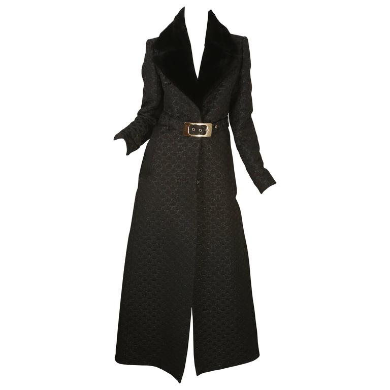 Gucci Full Length Coat W/ Belt & Real Fur Collar