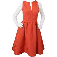 Oscar de la Renta Orange Cocktail Dress W/ Back Tie