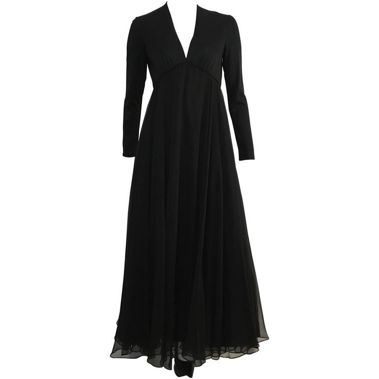 Jerry Silverman Black Empire Waist Evening Gown Size 4.