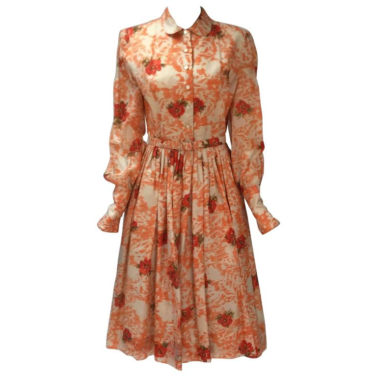 "1950s Silk Floral ""New Look"" Dress"