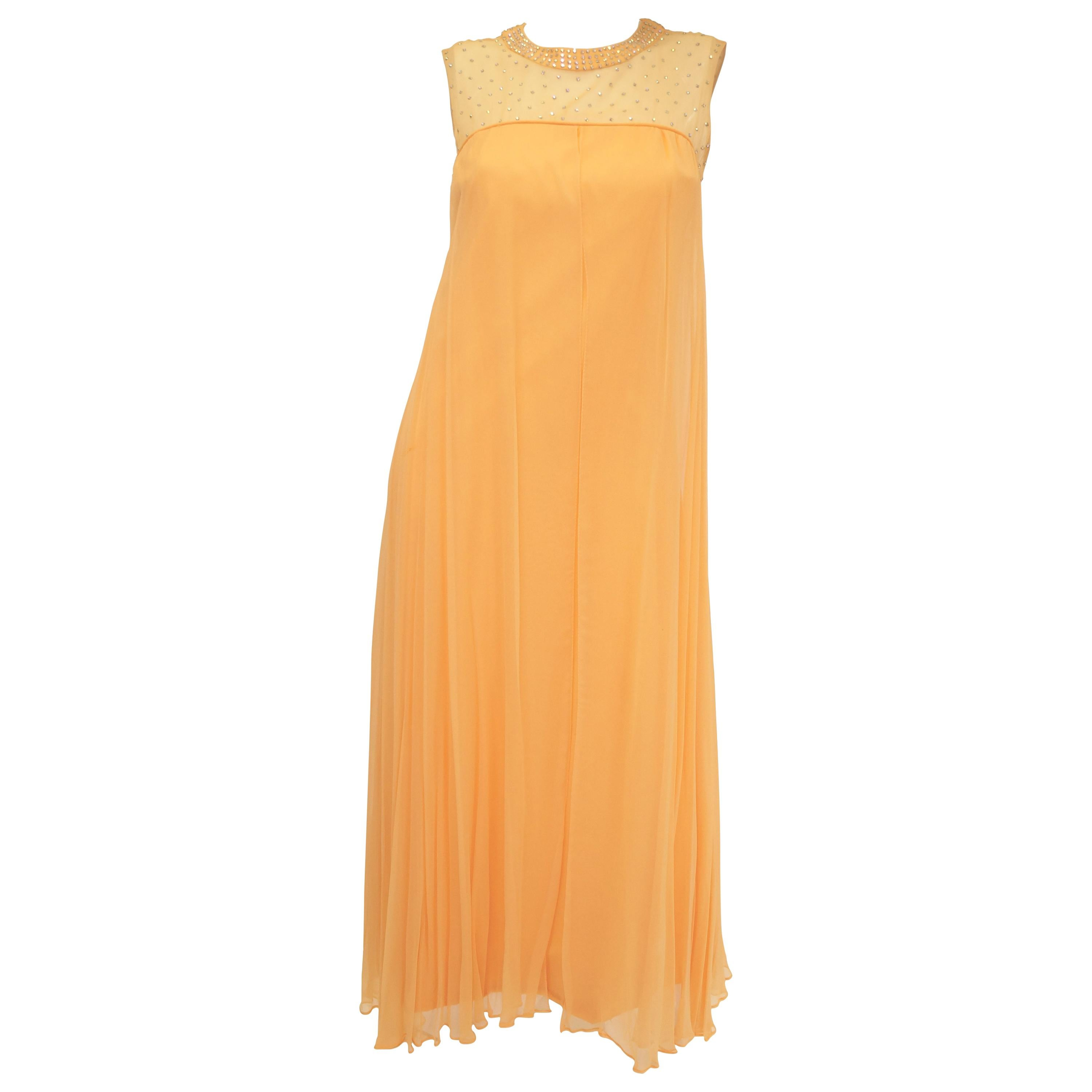 1960s Peach Crepe de Chine and Sequin Dress