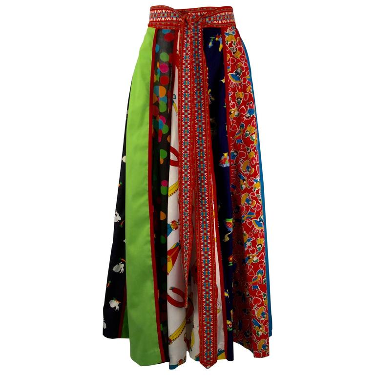 Giorgio di Sant'Angelo Multi Fabric Cotton Skirt, 1970s