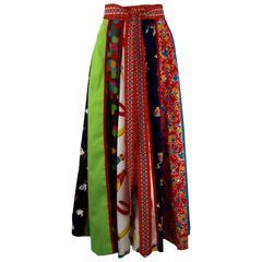 1970s Giorgio di Sant' Angelo Multi Fabric Cotton Skirt