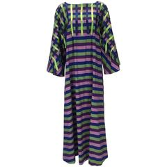 1960s Mexican Multi Color Cotton and Ribbon Kaftan
