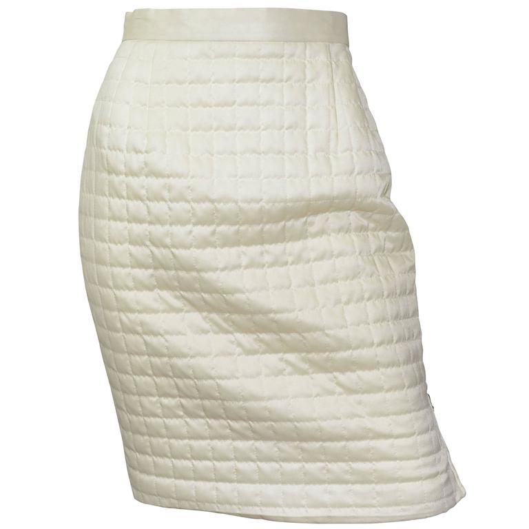 Chanel Satin Quilted Skirt 1