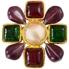 Chanel Purple and Green Gripoix Brooch w/ Center Faux Pearl