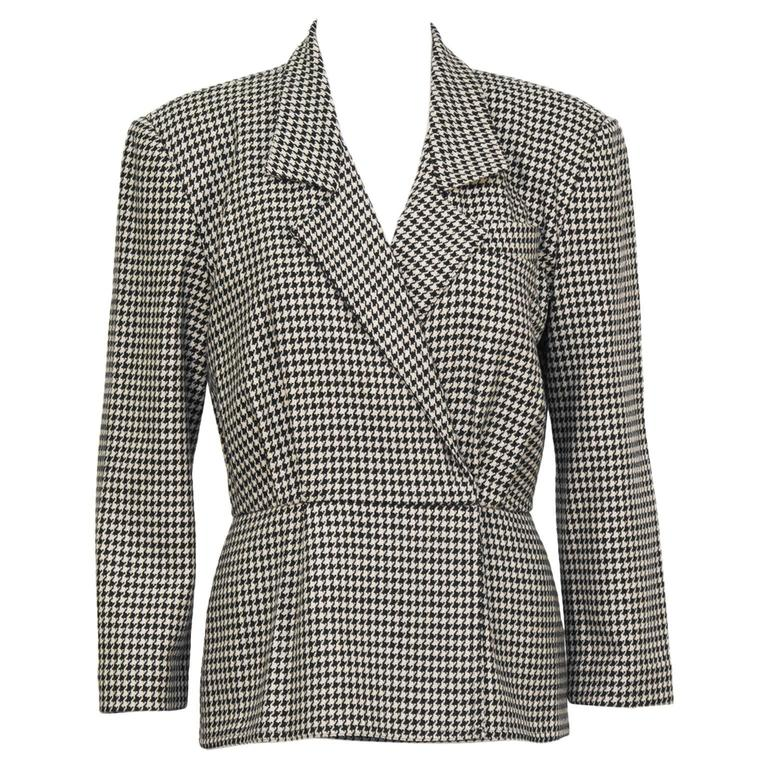 f558ffd4bc023f 1980 s Michael Kors First Collection Houndstooth Top For Sale at 1stdibs