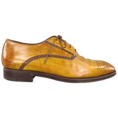 BONTONI Size 10 Tan & Brown Distressed Leather Brogue Lace Up