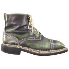 BETTANIN & VENTURI Size 8 Green Distressed Leather Wingtip Boots