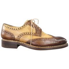 CALZOLERIA HARRIS Size 10 Brown & Beige Leather Wingtip Spectator Lace Up