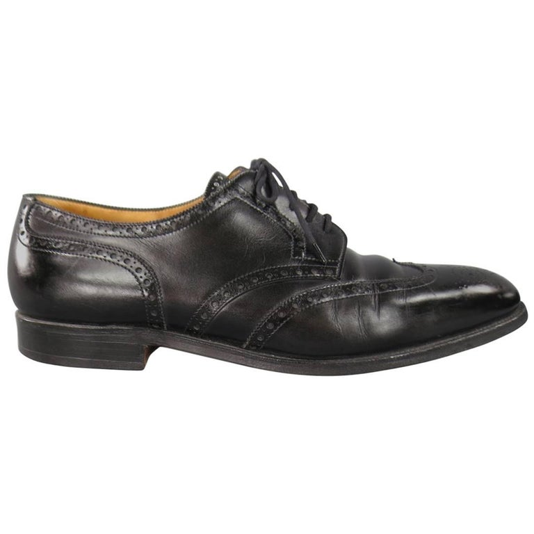 John Lobb Darby Men's Black Leather Wingtip Lace Up, Size 10.5 For Sale