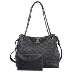 Chanel Accordion Tote Black Distressed Leather 2015 in Box