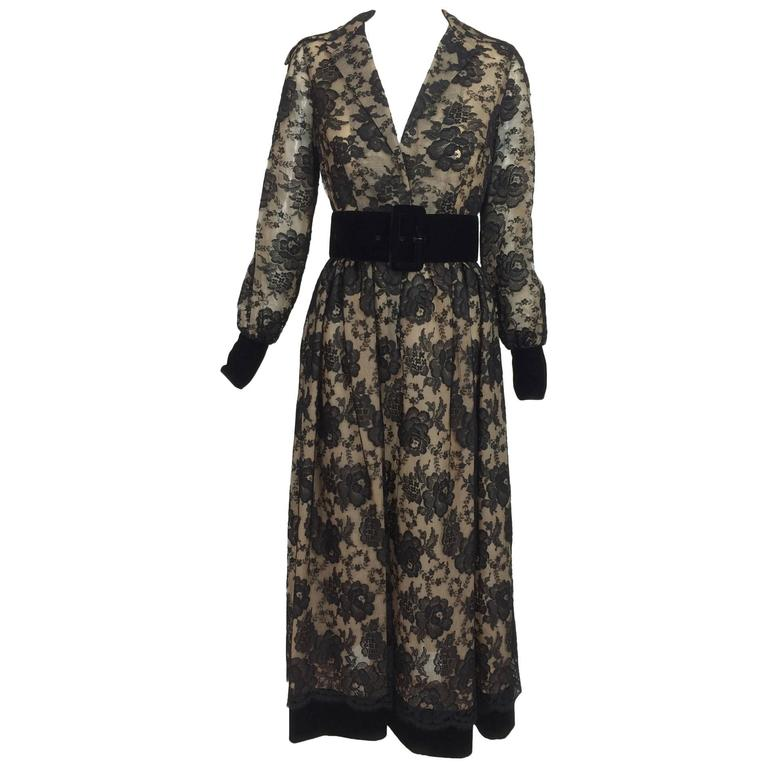 Vintage Lillie Rubin black lace & velvet ballet length dress 1970s