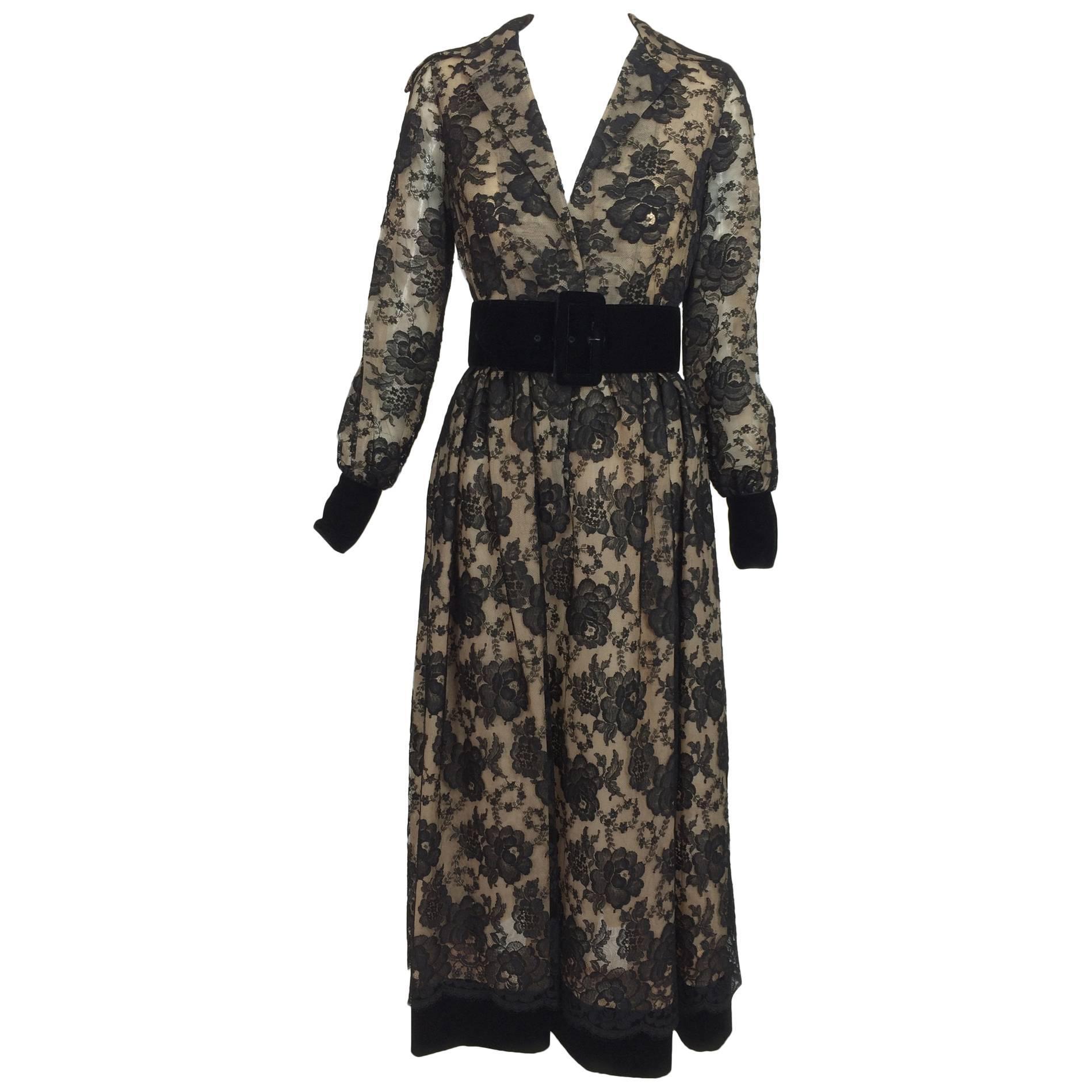 Vintage Lillie Rubin black lace & velvet dress 1970s