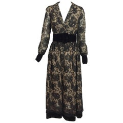 Vintage Lillie Rubin black lace & velvet dress 1970s