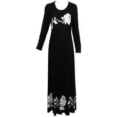 Vintage Mr Dino silky jersey black & white rose print maxi dress 1970s