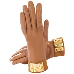 Hermes Leather Gloves Light Brown Ghw Collier De Chien