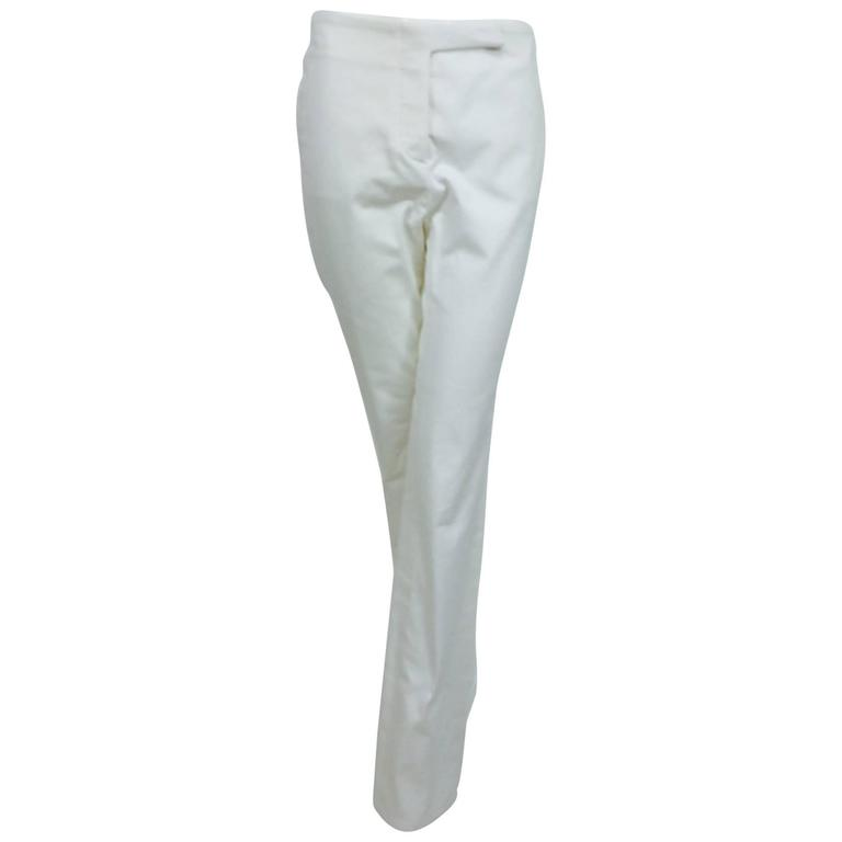 Vintage Chanel white cotton twill buckle back fly front trousers 1990s