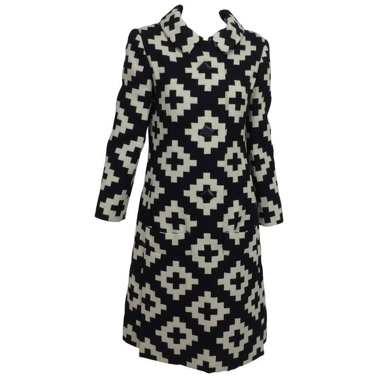 Vintage Donald Brooks geometric black & white coat dress 1960s