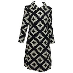 Vintage Donald Brooks geometric black & white coat dress 1960s