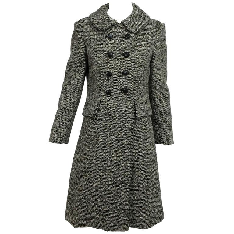 Vintage Donald Brooks brown & white tweed coat dress 1960s