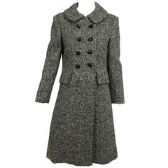 Vintage Donald Brooks brown & white tweed coat dress 1960s