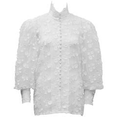 1980's Renzo Couture White Floral Applique Blouse