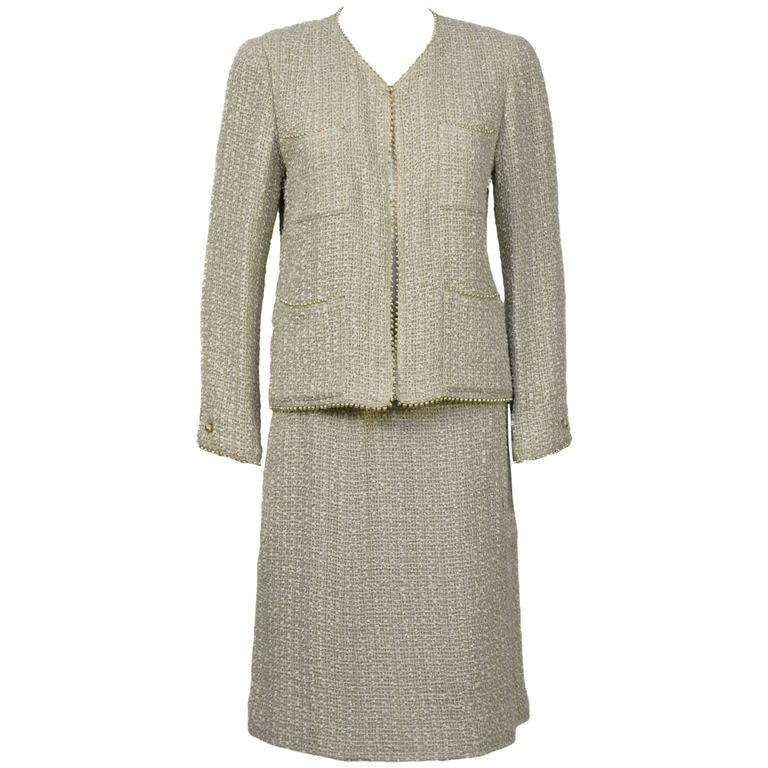Spring 1999 Chanel Pearl Trim Boucle Skirt Suit