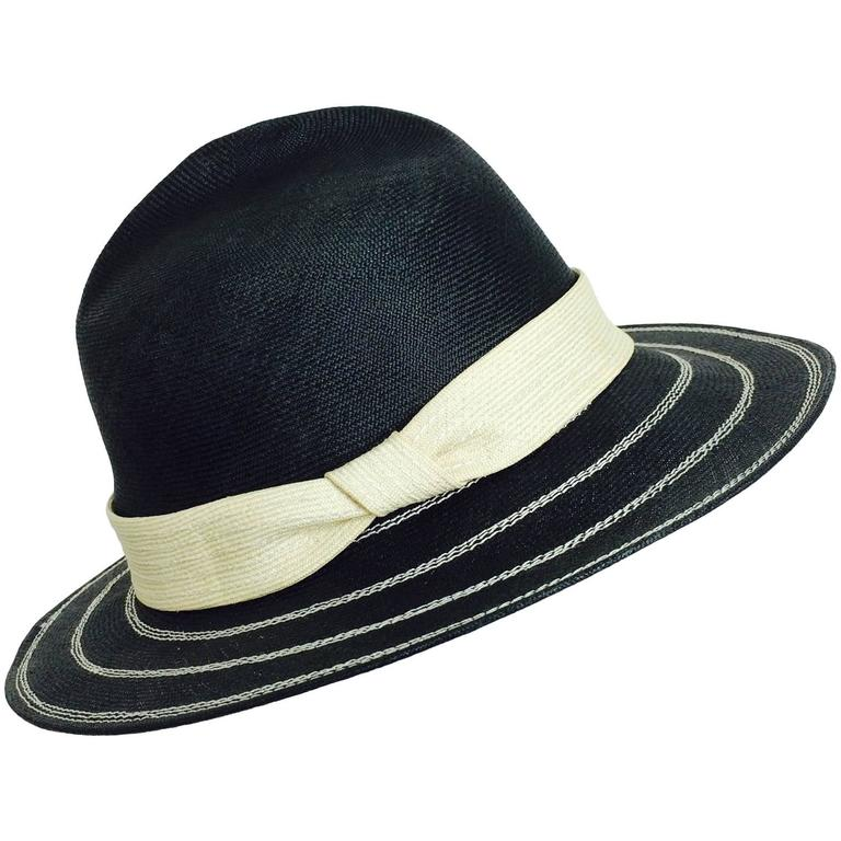 Vintage James Galanos black & ivory straw fedora hat 1960s