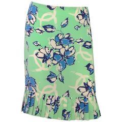 Chanel Green and Blue Silk CC  Floral Print Skirt Sz 42