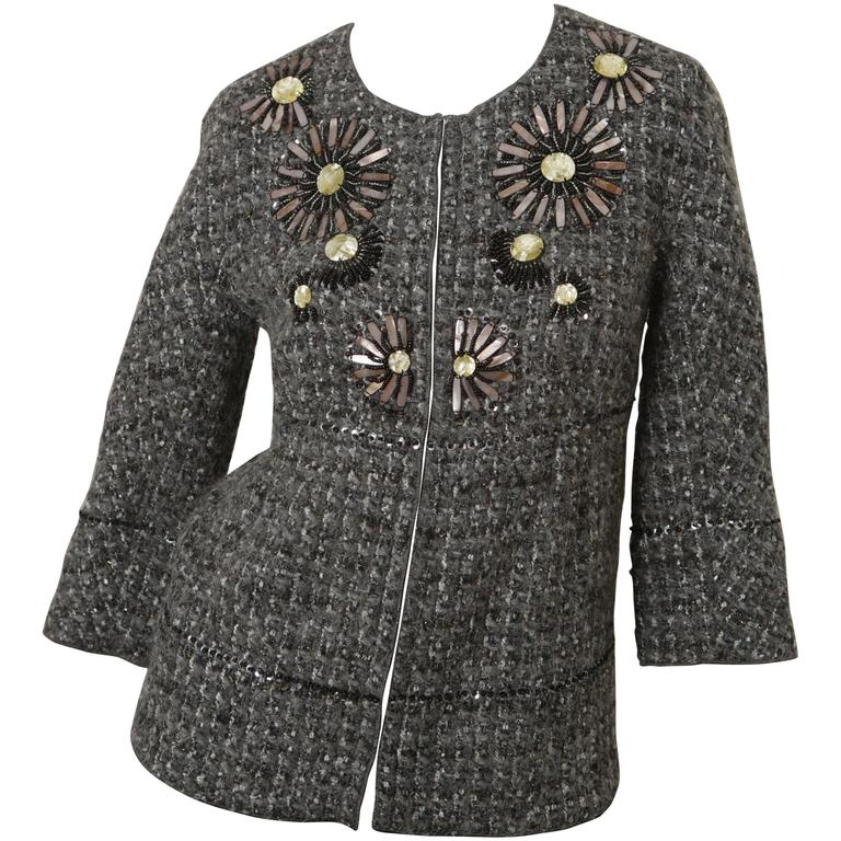 St. John Couture Grey Tweed 3/4 Embellished Jacket