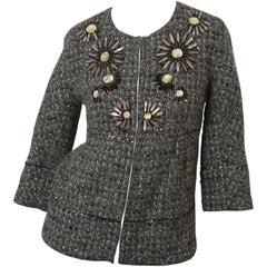 St. John Couture Grey Tweed 3/4 Embellished Jacket