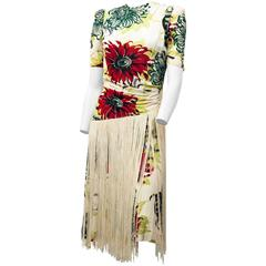 40s Floral Printed Tiki Dress with Fringe Adorned Skirt