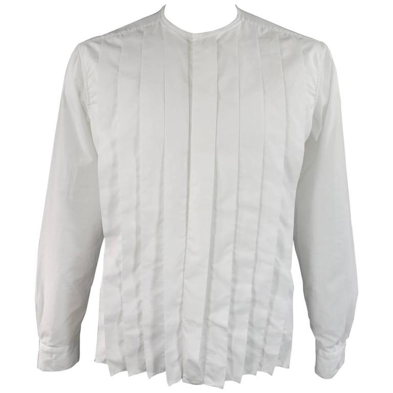 LANVIN Size L Men's White Pleated Cotton Collarless Long Sleeve Shirt 1