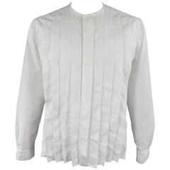 LANVIN Size L Men's White Pleated Cotton Collarless Long Sleeve Shirt