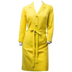 60s Mod Yellow Silk Day Dress
