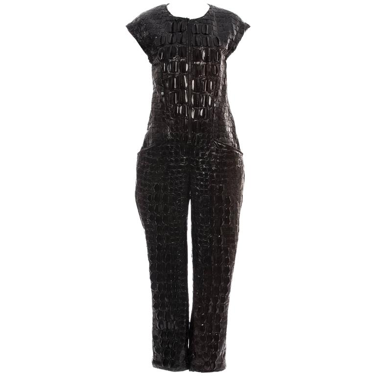 K T Z  Jumpsuit With Nylon Embroidered 3D Crocodile Skin, Spring 2015