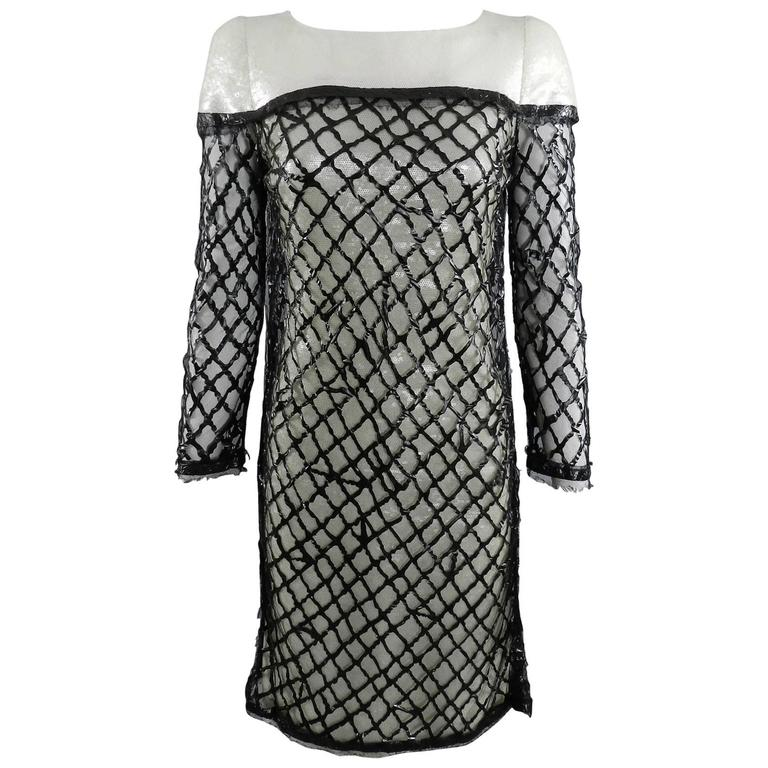 Chanel 09P White Sequin Runway Dress with Black Rubber Mesh Overlay 1
