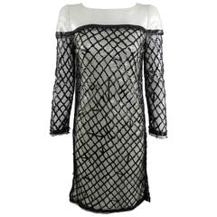 Chanel 09P White Sequin Runway Dress with Black Rubber Mesh Overlay