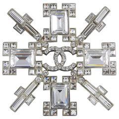 Chanel 06A Clear Rhinestone Cross Brooch / Pin