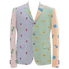 Thom Browne Men's Embroidered Seersucker Blazer, Spring 2013